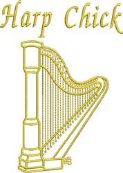 Harp Chick embroidery design