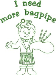 Need More Bagpipe embroidery design