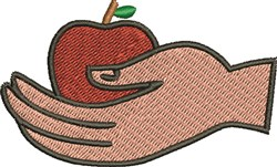Hand and Apple embroidery design