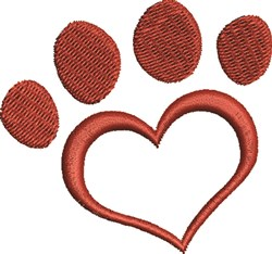 Heart Paw Print embroidery design