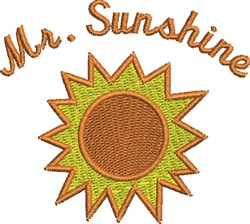 Mr Sunshine embroidery design