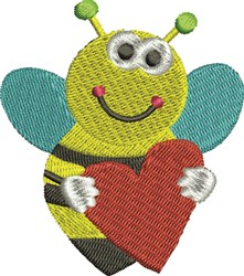 Bee with Heart embroidery design
