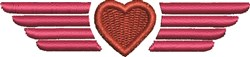 Heart and Wings embroidery design
