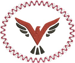 Phoenix In Circle embroidery design