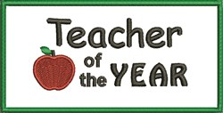 Teacher Of Year embroidery design