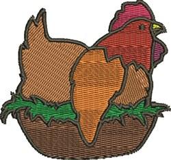 Chicken On Nest embroidery design
