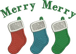 Merry Stockings embroidery design