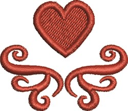 Heart and Scroll embroidery design