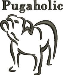 Pugaholic embroidery design