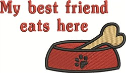 Dog Eats Here embroidery design