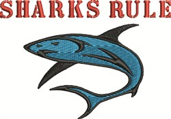 Sharks Rule embroidery design