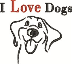 I Love Dogs embroidery design
