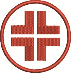 Circle Red Cross embroidery design