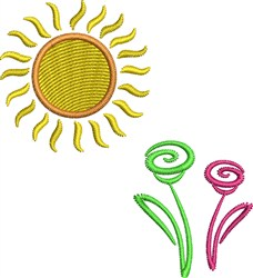 Sun And Flowers embroidery design