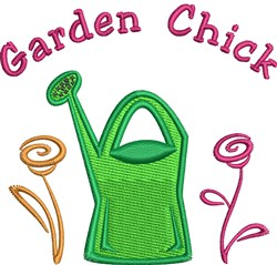 Gardening Chick embroidery design