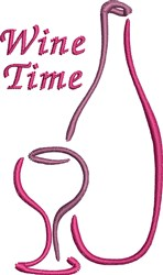 Wine Time embroidery design