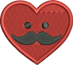 Mustache Heart embroidery design