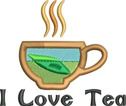 I Love Tea embroidery design