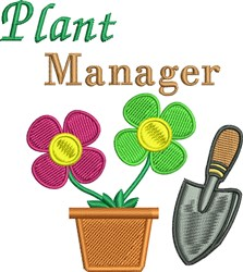 Plant Manager embroidery design