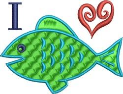 I Heart Fish embroidery design