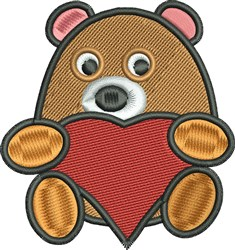 Bear and Heart embroidery design