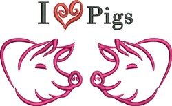 I Love Pigs embroidery design