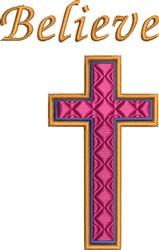 Religious Cross Believe embroidery design