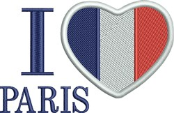 I Love Paris Flag embroidery design