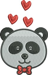 Panda With Hearts embroidery design