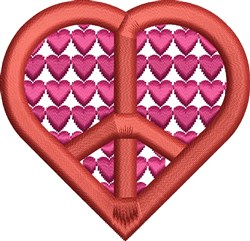 Peace Symbol Heart embroidery design