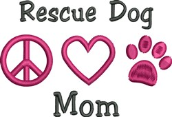 Peace Love Rescue Dog embroidery design
