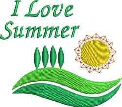 I Love Summer embroidery design