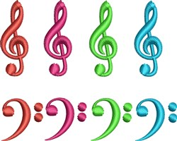 Treble And Bass Notes embroidery design