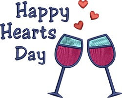 Wine Glasses Valentines Day embroidery design