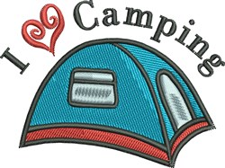 I Love Camping Tent embroidery design
