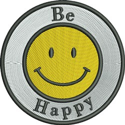 Be Happy Smiley embroidery design