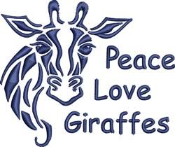 Peace Love Giraffes embroidery design