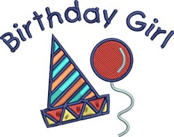 Birthday Girl Hat embroidery design