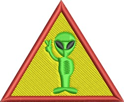 Alien Warning Sign embroidery design