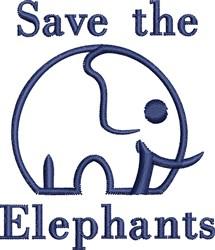 Save Elephants embroidery design