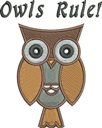 Owls Rule embroidery design