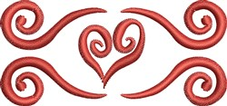 Scroll Heart embroidery design