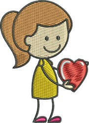 Girl and Heart embroidery design