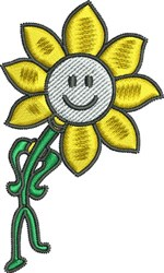 Smiley Flower embroidery design