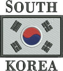 South Korea Flag embroidery design
