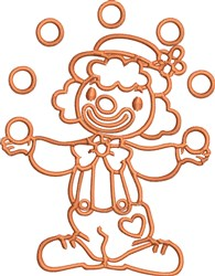 Clown Outline embroidery design