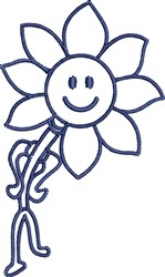 Smiley Flower Outline embroidery design