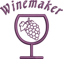 Wine Glass Grapes embroidery design