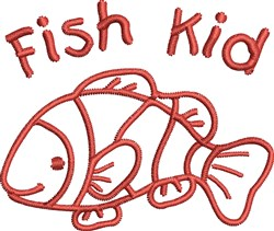 Fish Kid Outline embroidery design