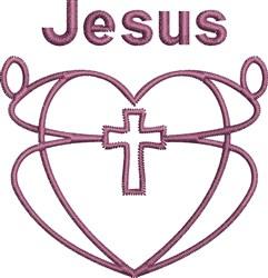 Jesus Heart Outline embroidery design